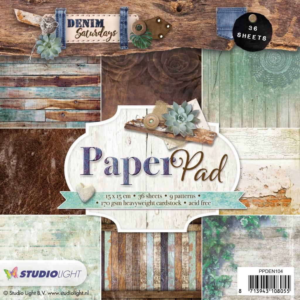 Studiolight Paper Pad 15 x 15 cm, Denim Saturdays nr.104