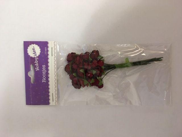 Hobby Idee Roses en papier rouge foncé 10mm