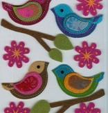 Hobby Crafting & Fun Felt 3D Stickers, Birds & Flowers, 15 pcs, pre-attached on 11 x 15 cm clear sheet/ header bag
