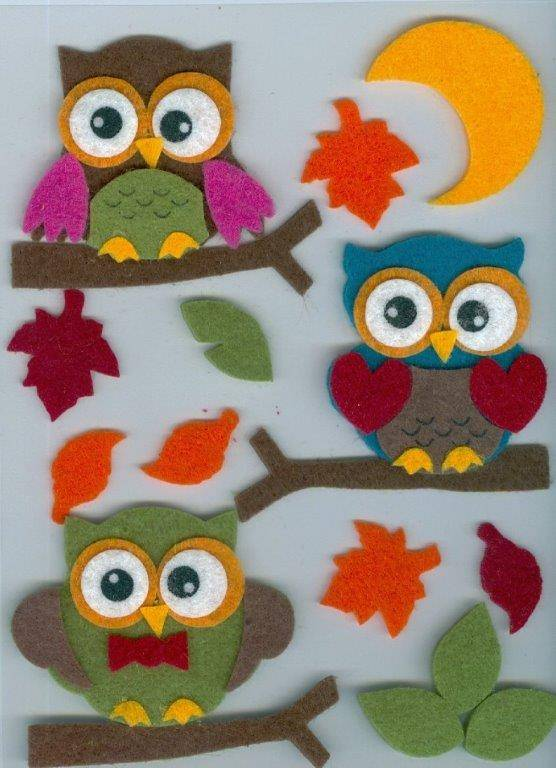 Hobby Crafting & Fun Felt 3D Stickers, Owl Design, 17 pcs, pre-attached on 11 x 15 cm clear sheet/ header bag