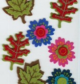 Hobby Crafting & Fun Felt 3D Stickers, Flowers & Leaves, 7 pcs, pre-attached on 11 x 15 cm clear sheet/ header bag