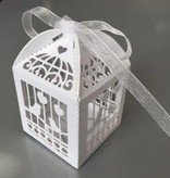 Hobby Crafting & Fun Filigree Paper Box with Ribbon, Birdcage, White, 5 x 5 x 7.5 cm, 10pcs/bag