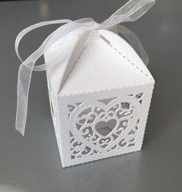 Hobby Crafting & Fun Filigree Paper Box with Ribbon, Heart, White, 5 x 5 x 7.5 cm, 10pcs/bag