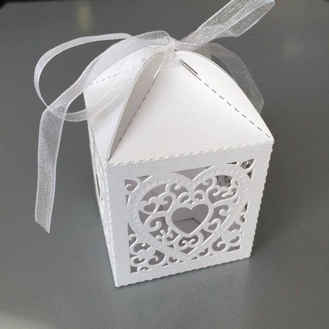 Hobby Crafting & Fun Filigree Paper Box with Ribbon, Heart, White, 5 x 5 x 7.5 cm, 10pcs/bag