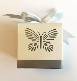 Hobby Crafting & Fun Paper Box with Ribbon, Butterfly, Silver/White, 5 x 5 x 5 cm, 10pcs/bag