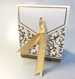 Hobby Crafting & Fun Paper Box with Ribbon, Gold/White, 6.5 x 3.5 x 7.5 cm, 12pcs/bag
