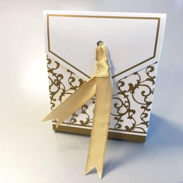 Hobby Crafting & Fun Paper Box with Ribbon, Gold/White, 6.5 x 3.5 x 7.5 cm, 12pcs/bag