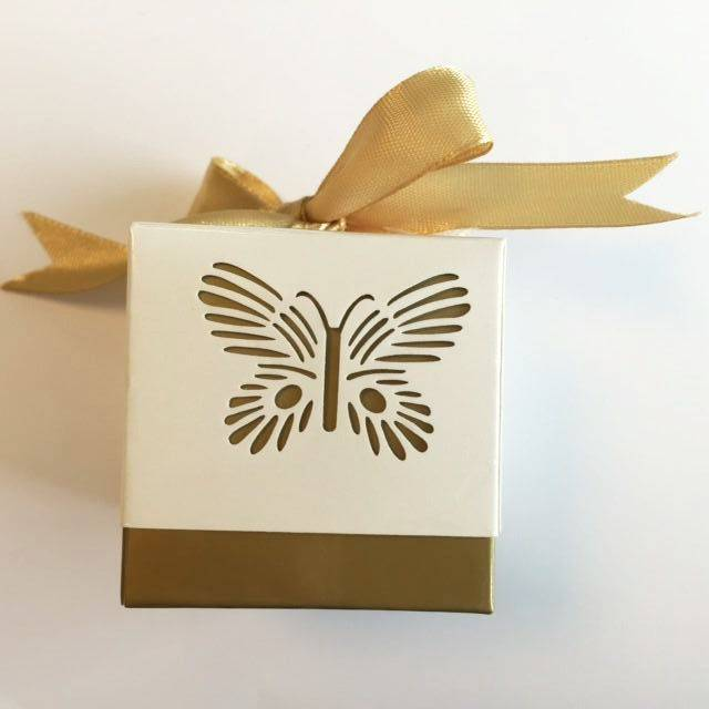 Hobby Crafting & Fun Paper Box with Ribbon, Butterfly, Gold/White, 5 x 5 x 5 cm, 10pcs/bag