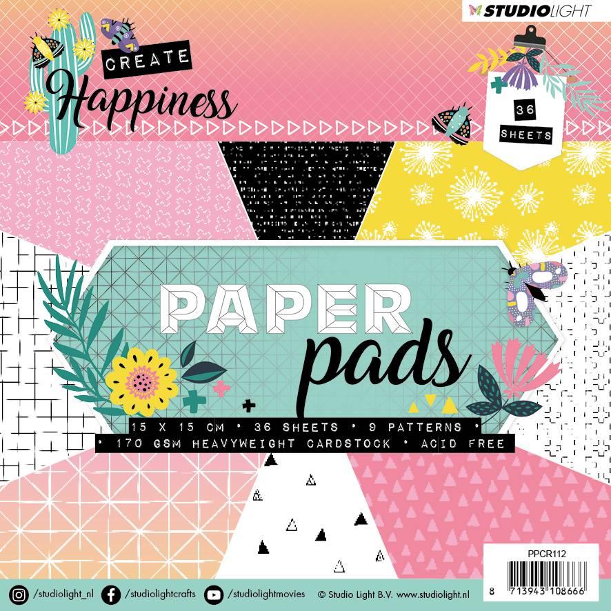 Studiolight Paper Pad 15 x 15 cm, Create Happiness nr.112