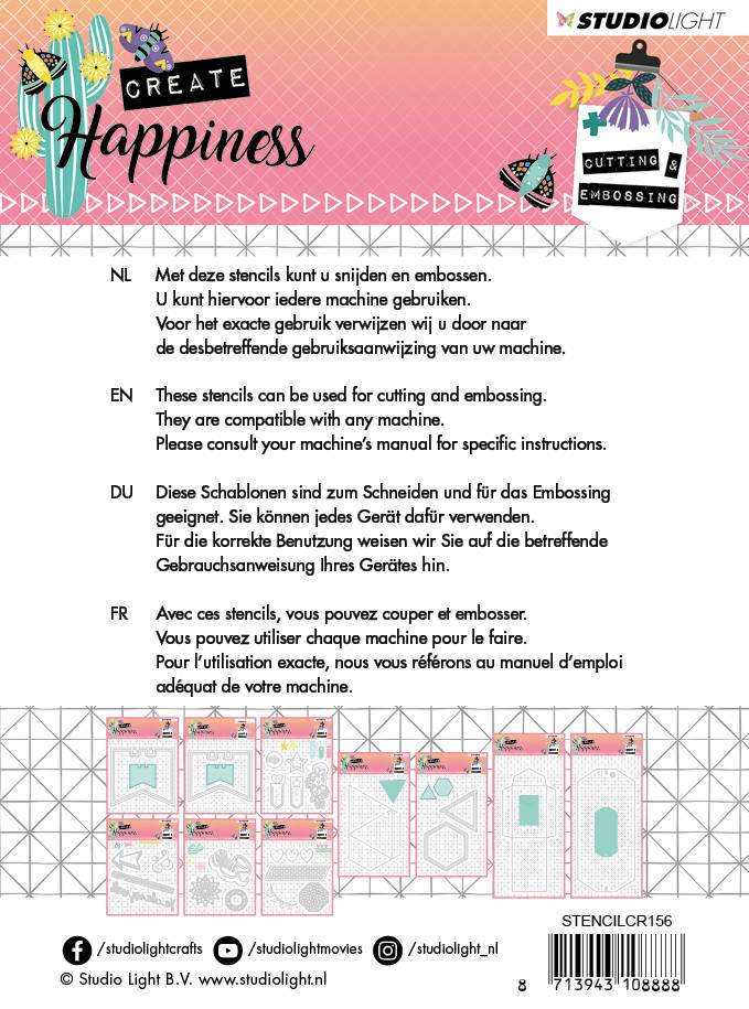 Studiolight Embossing Die 104 x 101 mm, Create Happiness nr.156