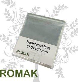 Romak Quadratische Kartentaschen Romak mit Klebestreifen 100 Stück 150x150 + 30
