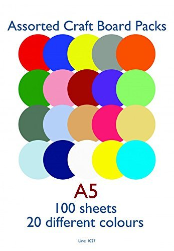 Craft UK Limited 100 SHEETS A5 ASSORTED CARD (160GSM)