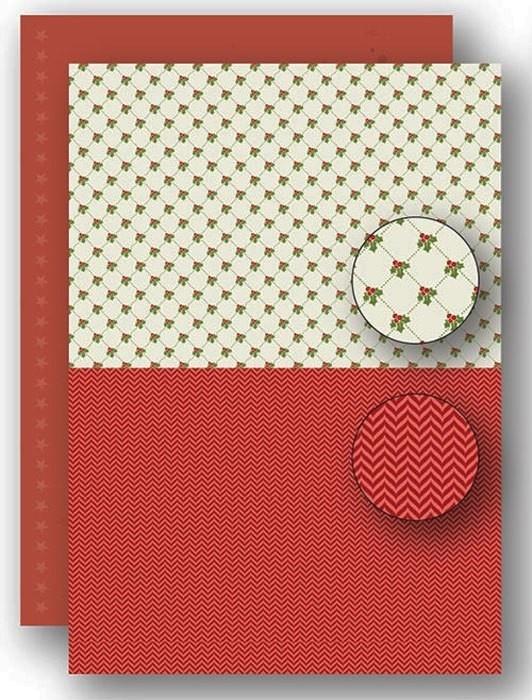 Nellie's Choice NEVA061 Achtergrond vel A4 Christmas red holly