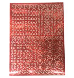 A5 Stickervel Kerst Holografisch rood hulsblad
