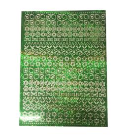 Feuille d'autocollant A5 Noël holographique vert
