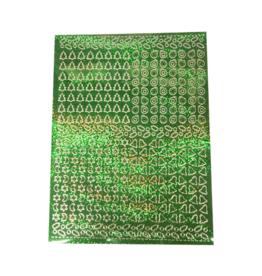 A5 Stickervel Kerst Holografisch groen hulsblad