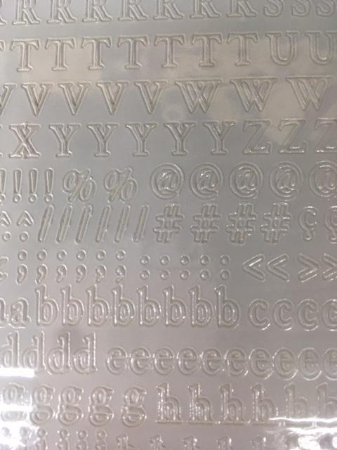 Alfabet en getallen sticker WIT