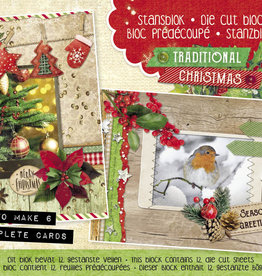 Studiolight Stansblok A5 Content 12 Sheets Die Cut, Traditional Christmas nr.25