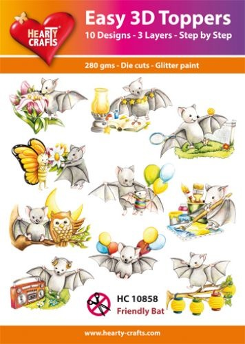 Hearty Crafts Easy 3D-Toppers Friendly Bat