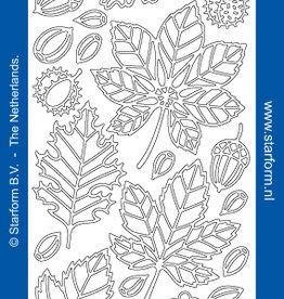 Outline sticker bladeren zilver