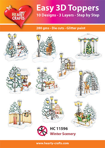 Hearty Crafts Easy 3D-Toppers Winter Scenery
