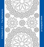 Starform Sticker cirkel met bloemen zilver