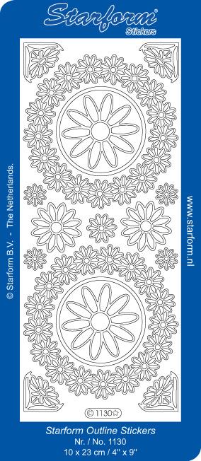 Starform Aufkleber Kreis mit Blumen Silber