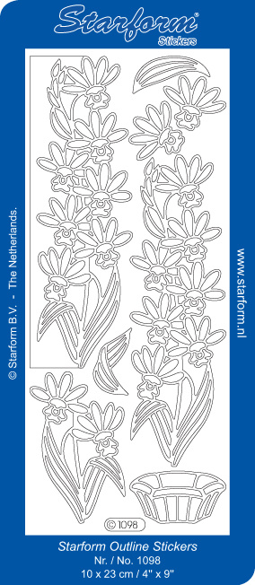 Starform Sticker outline bloemen zilver