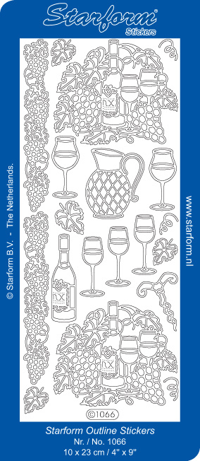 Starform Sticker outline wijn zilver