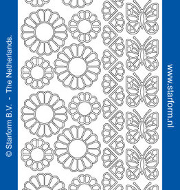 Starform Sticker outline bloemen en vlinders goud