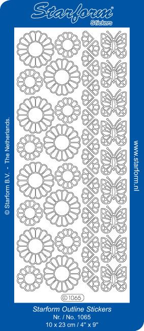 Starform Sticker outline bloemen en vlinders zilver