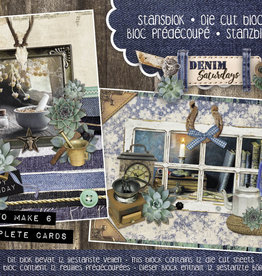 Studiolight Stansblok A5 Content 12 Sheets Die Cut, Denim Saturdays nr.27