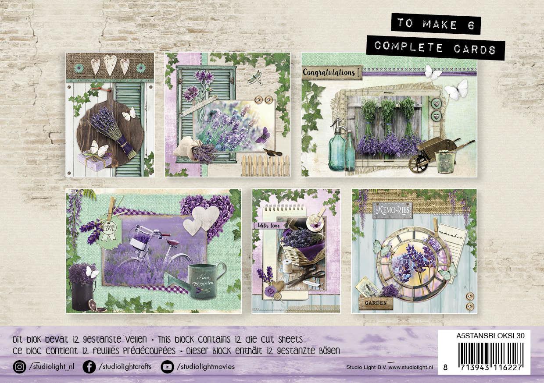 Studiolight Stansblok A5 Content 12 Sheets Die Cut, La Provence nr.30