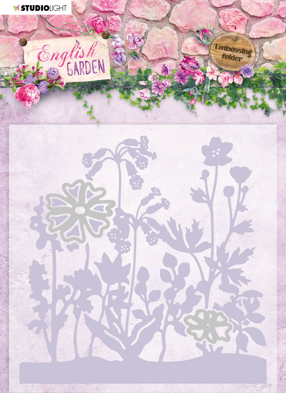 Studiolight Embossing Folder With Die Cut, English Garden nr.04