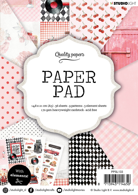 Studiolight Paper Pad A5, 36 Sheets, Retro nr.133