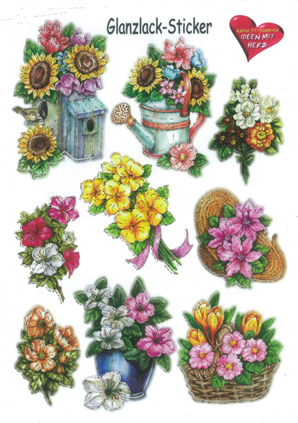 Ideen mit Herz Autocollant brillant fleurs