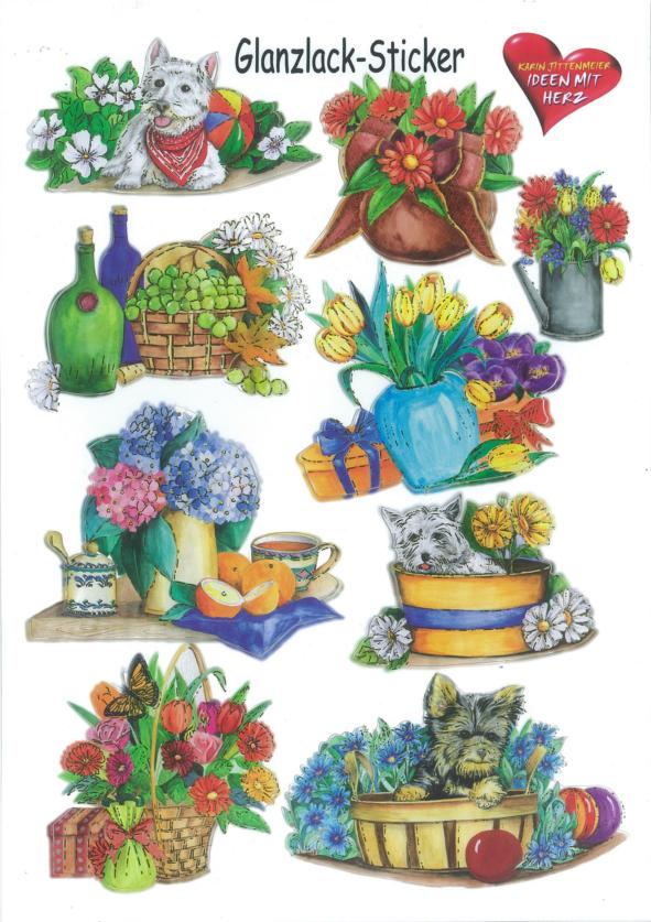 Ideen mit Herz Gloss sticker animals and flowers