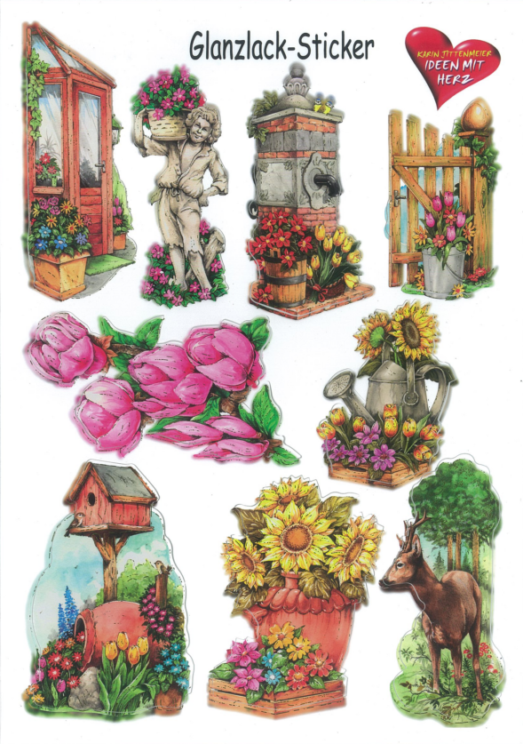 Ideen mit Herz Glanssticker dieren en bloemen