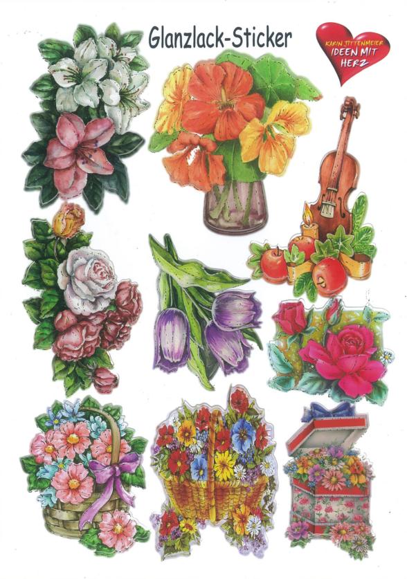 Ideen mit Herz Glanzaufkleber Blumen