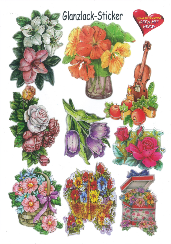 Ideen mit Herz Gloss sticker flowers