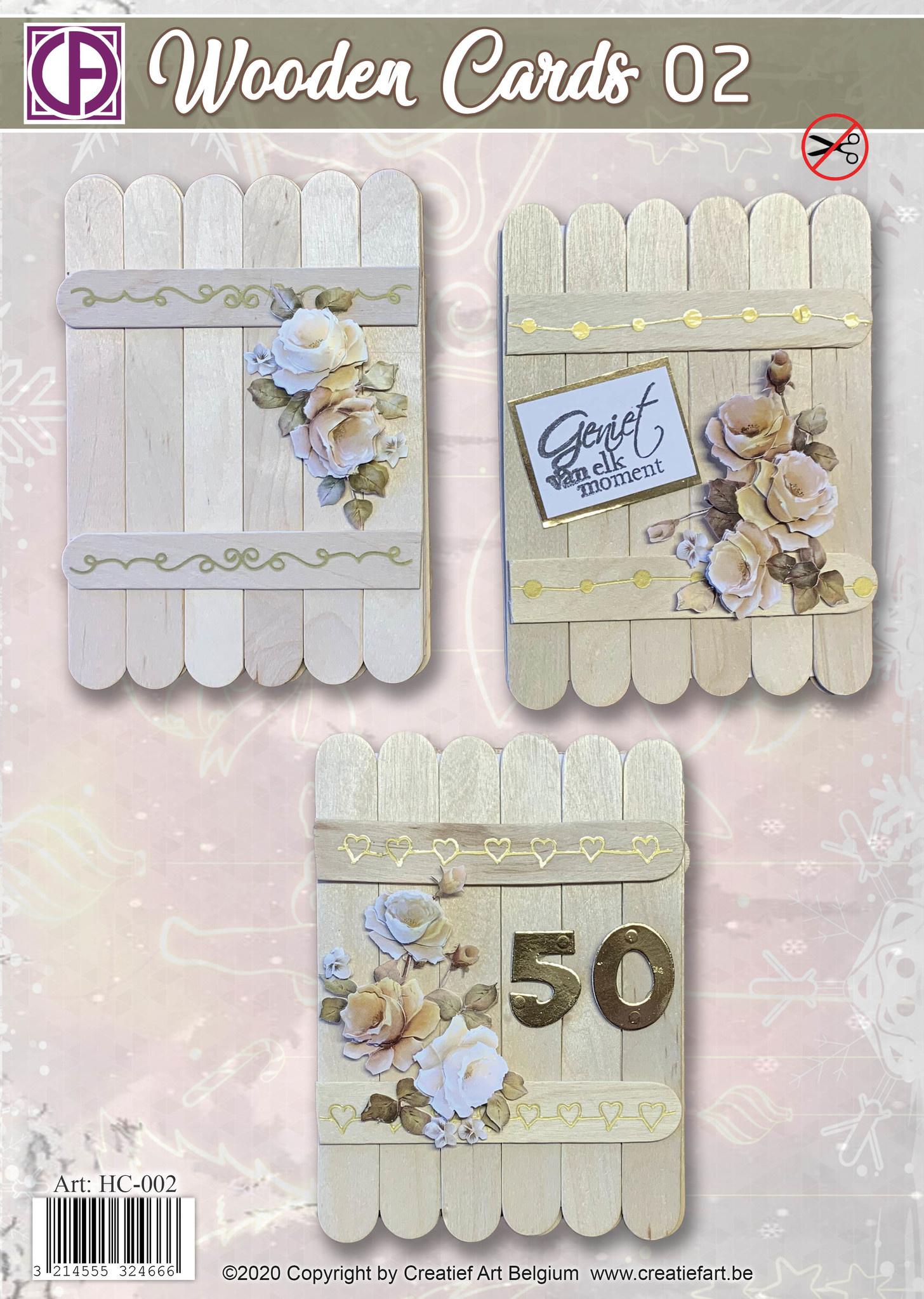 Creatief Art Wooden Cards 02 - Flowers