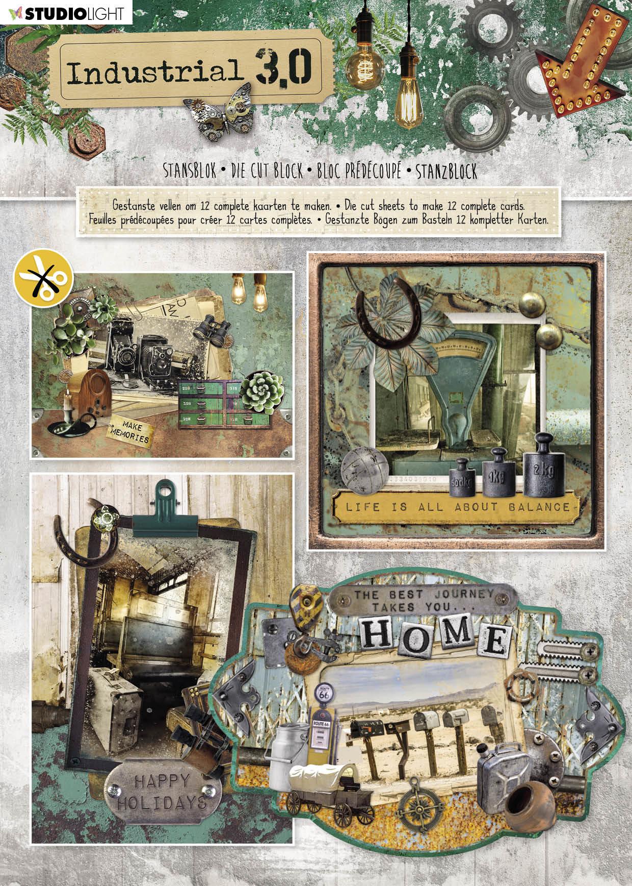 Studiolight Stansblok A4, Content 12 Sheets Die Cut, Industrial nr.93