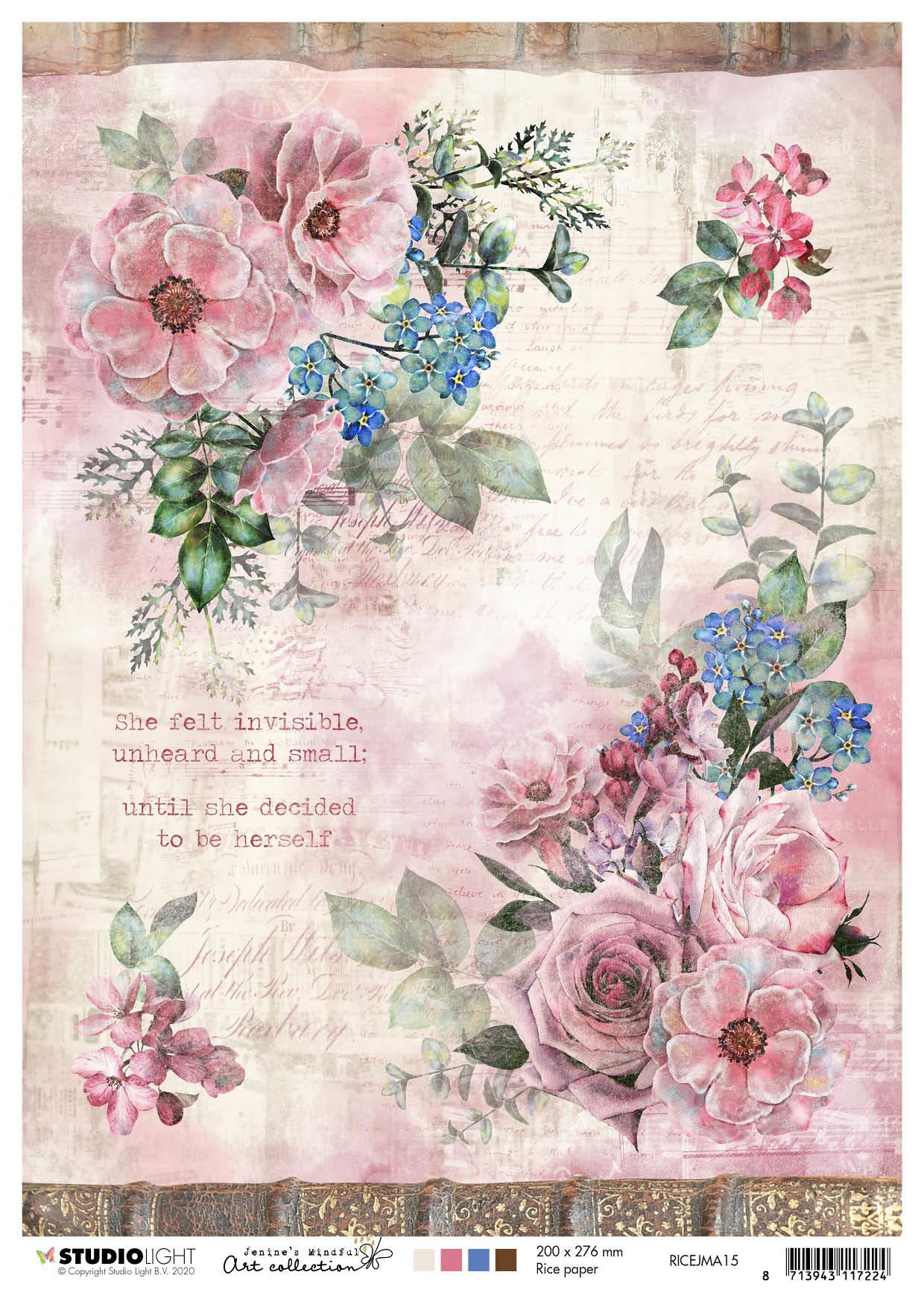 Studiolight Rice Paper A4 Sheet, Jenine's Mindful Art 3.0 nr.15