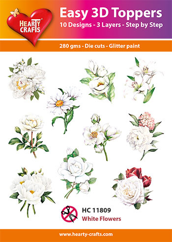 Hearty Crafts Easy 3D-Toppers White Flowers