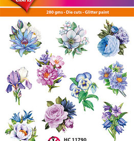 Hearty Crafts Easy 3D-Toppers Purple/Blue Flowers