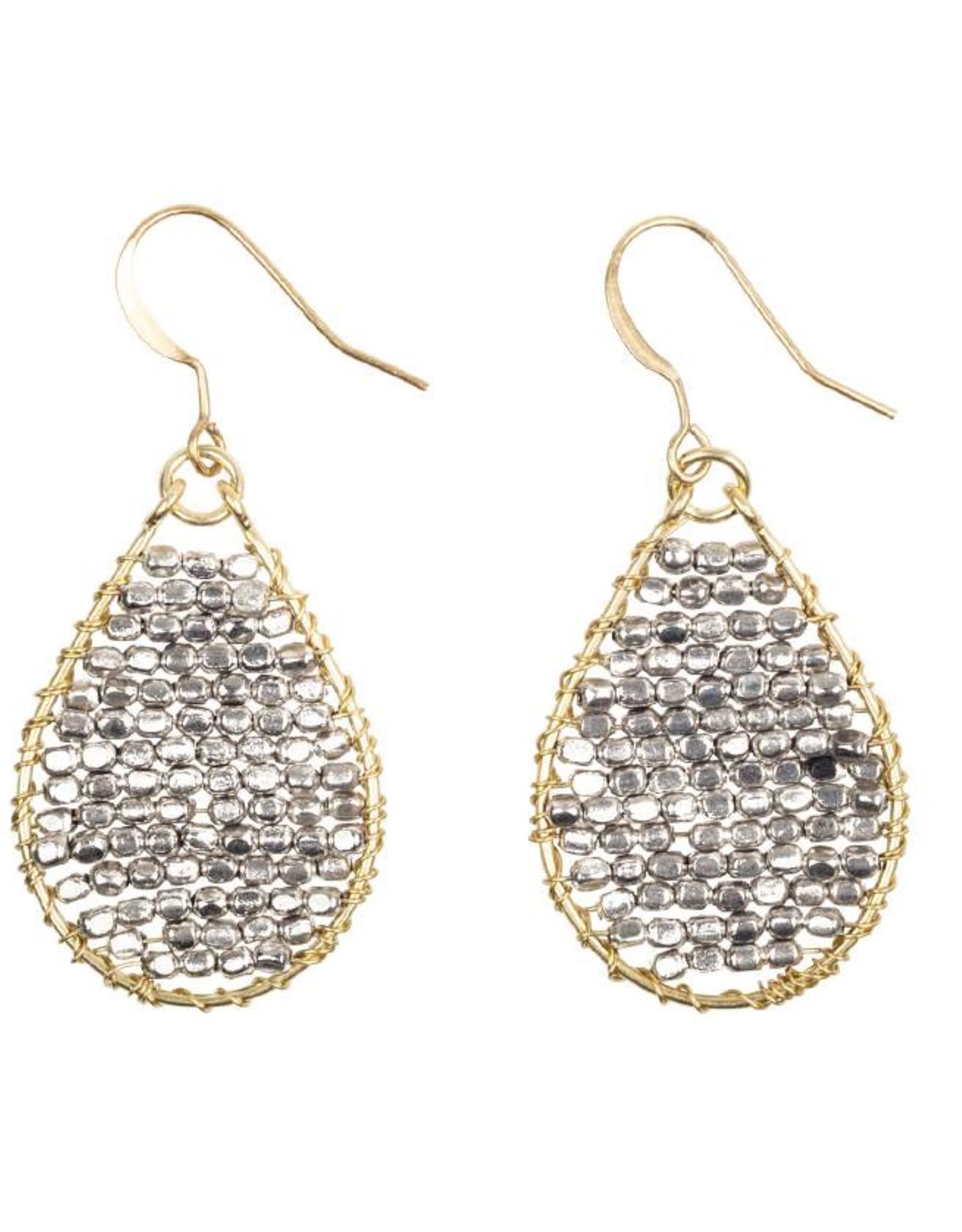Hinth Oorbellen Monsoon goldframe-mat silver