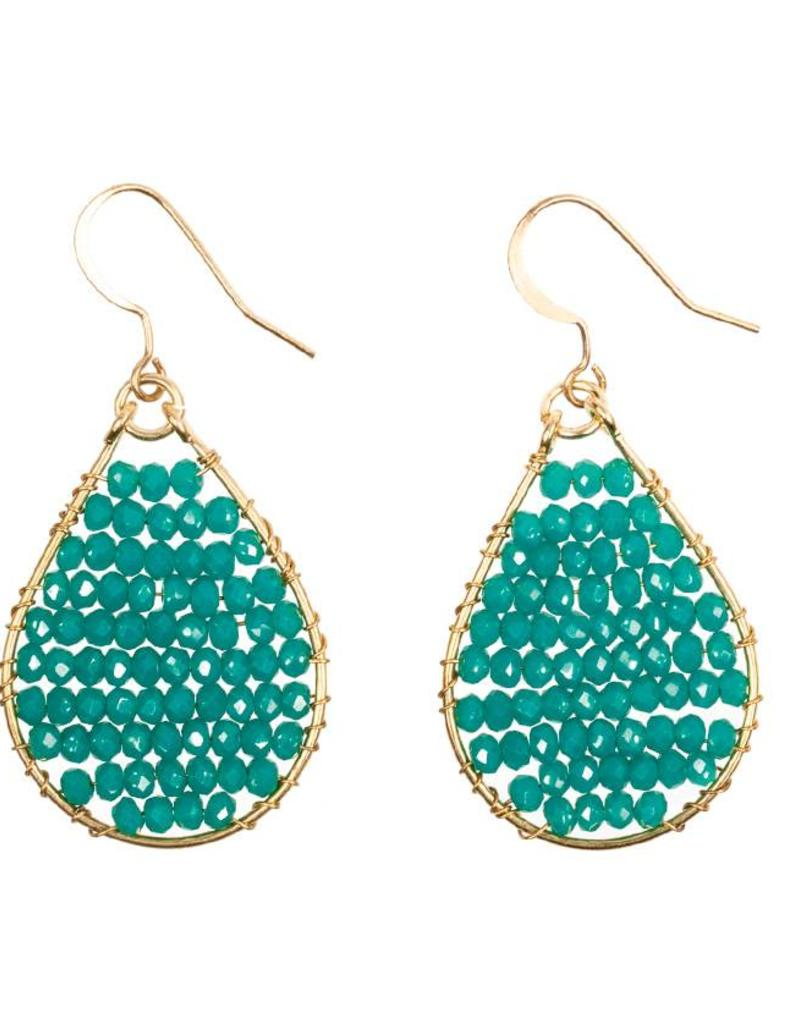 Hinth Oorbellen Monsoon goldframe-shiny teal green