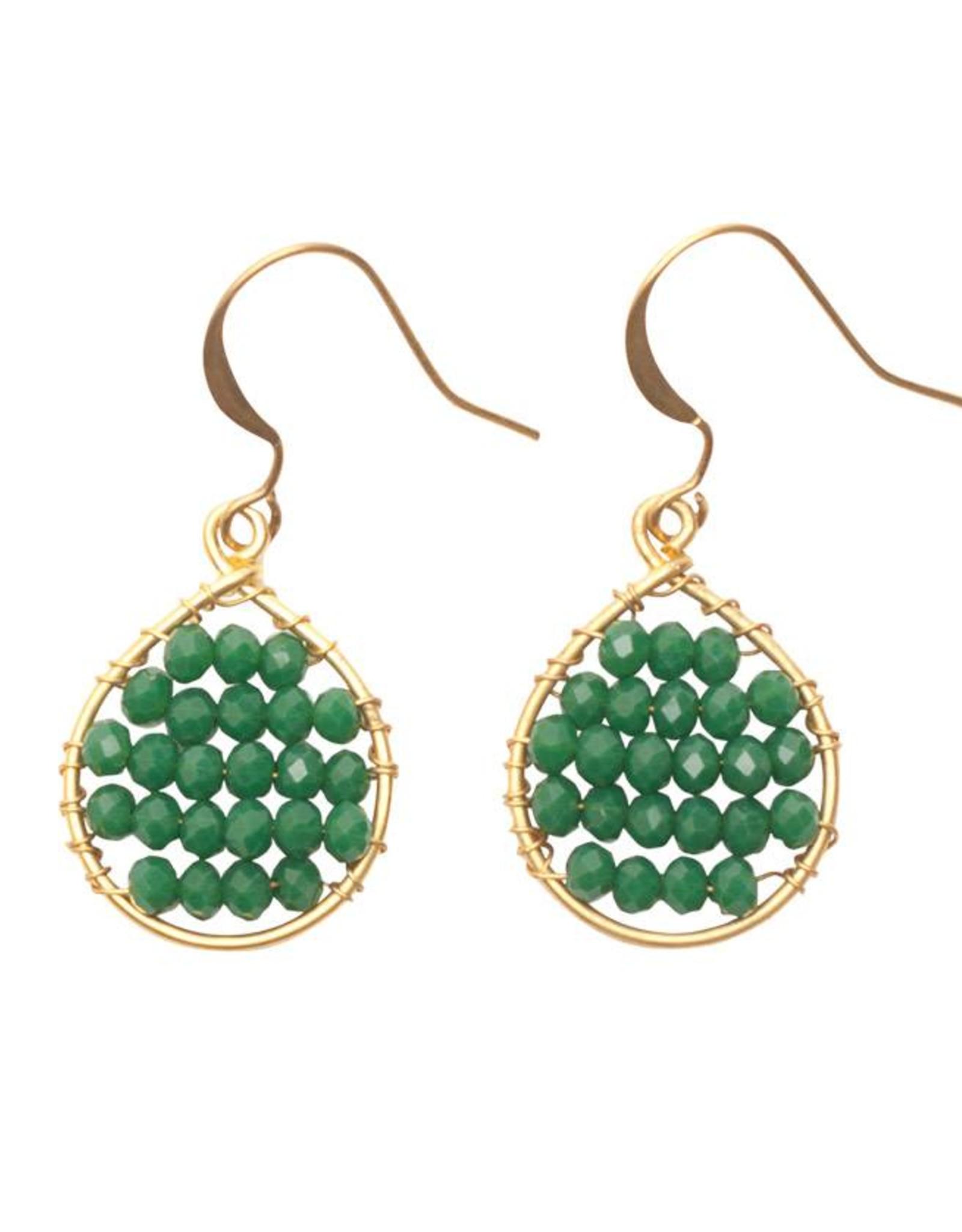 Hinth Oorbellen Lek goldframe-green