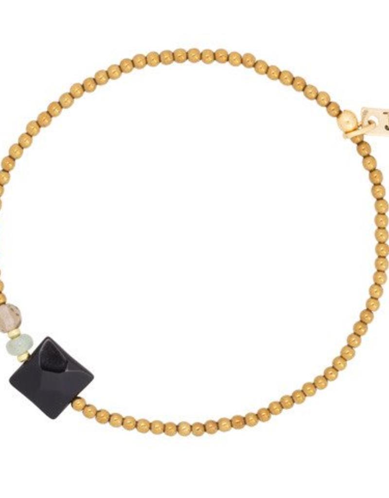 Jules Bean Armband Collectabean Sydney-gold/Onyx/Hematite/Aventurine/Quartz