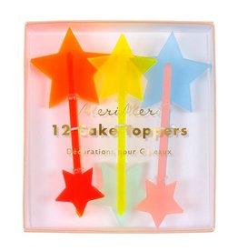Meri Meri Cake Toppers-stars neon